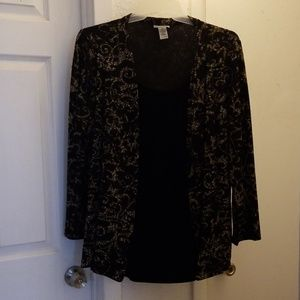 2-piece look blouse, long-sleeved EUC